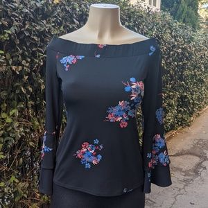 Floral Top with Long Flounce Sleeves (S)